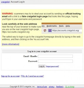 Craigslist login screen
